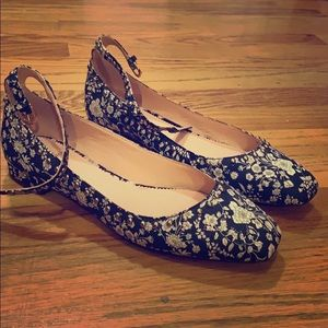 Poppy flats in Liberty® floral with embellisments
